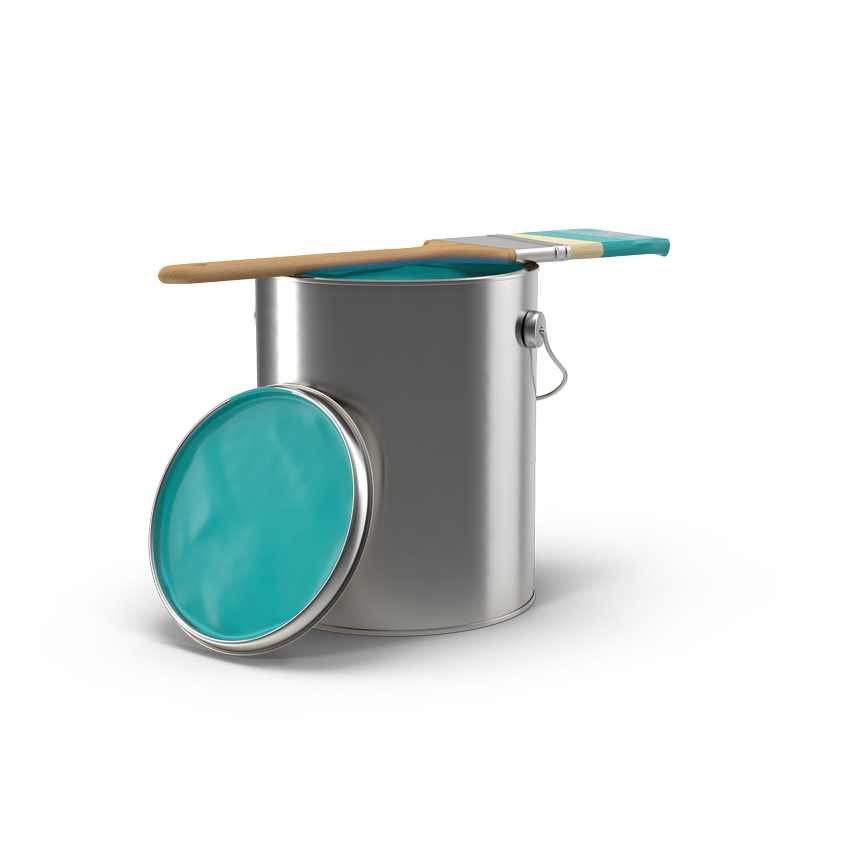 Paint Can with Light Blue Paint